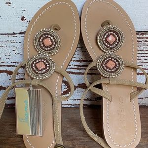 Skemo Coral Embellished Thong Strappy Flat Sandal